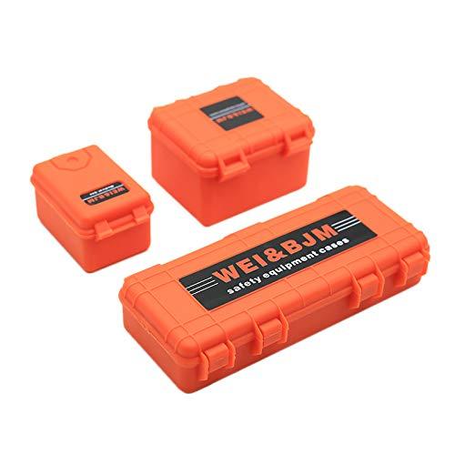Fltaheroo 3 Piezas Herramienta de Decoración de la Caja de Almacenamiento de Coche de Plástico RC para Trx4 Axial Scx10 90046 D90 1/10 RC Accesorios sobre Orugas Naranja