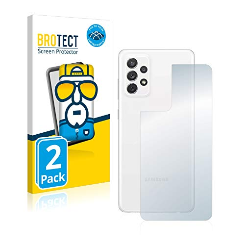 BROTECT Full-Cover Schutzfolie kompatibel mit Samsung Galaxy A72 (Rückseite) (2 Stück) - Full-Screen Displayschutz-Folie, 3D Curved, Kristall-Klar