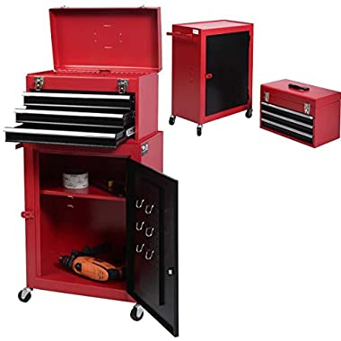 UBRTools 2pc Mini Tool Chest & Cabinet Storage Box Rolling Garage Toolbox Organizer New