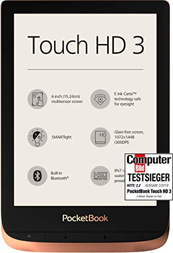 PocketBook e-Book Reader 'Touch HD 3' (16 GB di memoria; 15,24 cm (6 pollici) E-Ink Carta Display; SMARTlight; Wi-Fi; Bluetooth) in rame
