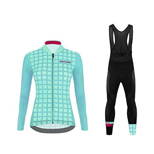Uglyfrog Invierno Thermo Fleece Ciclismo Ropa Maillot Mujer Jersey+Pantalones Largos Culote de Ciclismo Conjunto Entretiempo para Deportes al Aire Lib