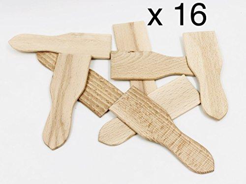 MGI DEVELOPPEMENT, Fabrication Artisanale 16 spatules à raclette de 13,8 cm / 4,5 cm, emballées sous Vide Idéale raclette et pierrade Bois de hêtre Brut