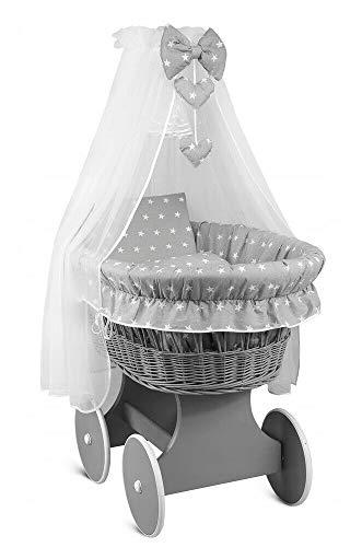 Weidenkorb für Babys, komplettes Betthimmel, grau/kleine weiße Sterne auf Grau