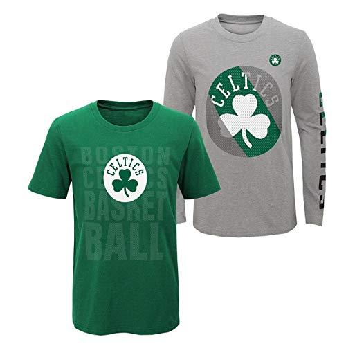 NBA Kids 4-7 Primary Logo 2 for 1 Long Sleeve Short Sleeve T-Shirt Combo Set (5/6, Boston Celtics)