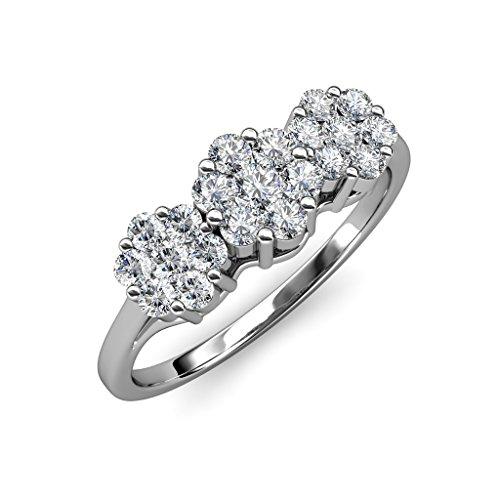 TriJewels - Anillo de aniversario con diamante certificado AGS, 1 3/4 quilates, diseño floral, oro blanco de 14 quilates