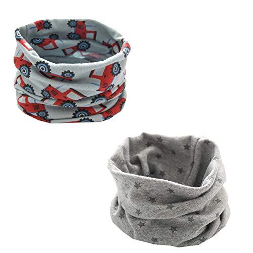 ENSTAB 2 Stück Loop Kinder Baumwolle Herbst Winter Schal Baby Loop Hals Wärmer Mädchen und Junge