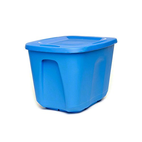 Homz Plastic Storage Tote with Lid, 10 Gallon, Blue, Stackable, 5-Pack