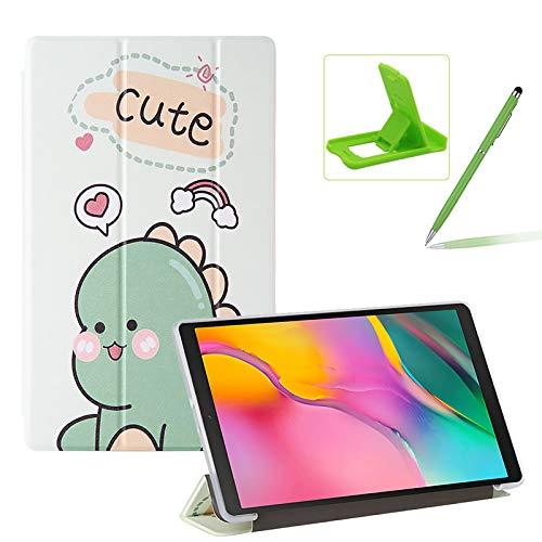 Herzzer Three Fold Leather Case for Samsung Galaxy Tab A 10.1 2019,Slim Multi-Angle Folio Stand Premium Colorful Print PU Leather Protective Cover with Clear Back Case,Green Dinosaur