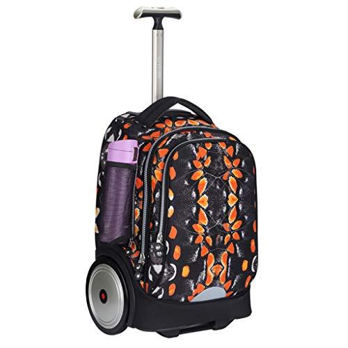 Mochila con ruedas para adultos de negocios y estudiantes escolares, libros de viaje corto, impermeable, multifunción, color morado, Black (Negro) - JX-35