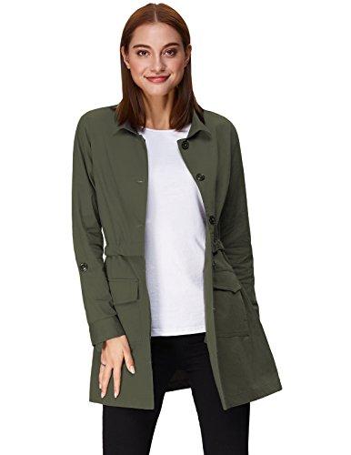 Lightweight Basic Thin Long Outerwear Jacket With Pocket Green Size S KK825-2