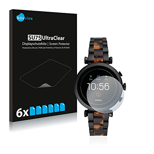Savvies 6X Schutzfolie kompatibel mit Fossil Sloan HR (4.Gen) Bildschirmschutz-Folie Ultra-transparent