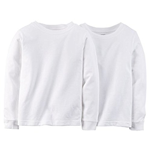 Carter's Little Boys' Long Sleeve 2-pack Cotton Undershirts (4T/5T, White)