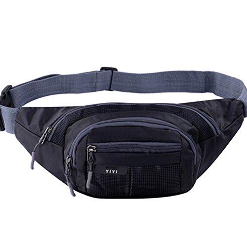 Black Temptation Outdoor Sports Sacs de Taille multifonctionnels pour la Course,la randonnée,Le Cyclisme,Le Camping, Noir 35x15cm