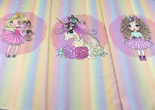 Stenzo Jersey - Panel - Stoff mit Mädchen und Einhorn auf regenbogenfarben aus 95% Baumwolle und 5% Elasthan mit 200g/m² in der Größe: ca. 70 cm x 150 cm