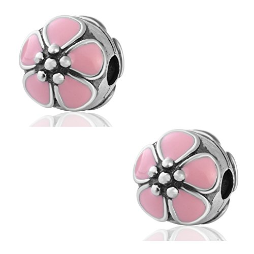 Hoobeads 2pcs*Pink Enamel Cherry Blossom Clip Authentic.925 Sterling Silver Clip Lock Stopper Bead Charms