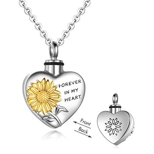 YFN Collar de urna para cenizas de plata de ley para mujeres, hombres, joyería de cremación para cenizas, collar de memoria siempre en mi corazón, recuerdo de Pascua para...