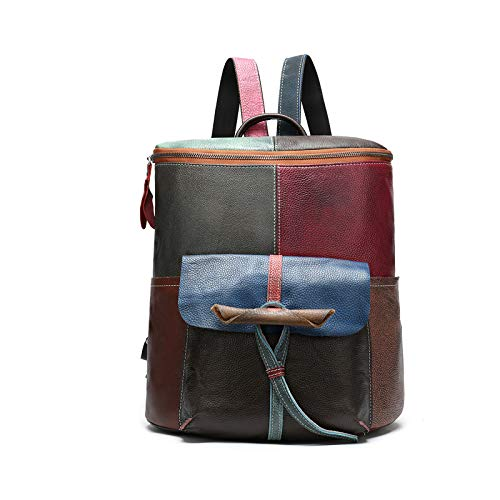 RTDotey Women's Genuine Leather Backpack Purse Retro Multicolor Splice Backpack 14'Laptop Backpack for Women Random Color,Brown