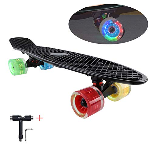 WHOME Skateboards for Kids with 60x45mm LED Light Wheel - 22  4Th Generation Cruise Skateboard Complete for Girls, Boys, Adults, Youth, Kids and Beginners T-Tool Included