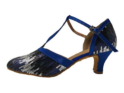 Honeystore Damen's Geschlossene Zehe T-Riemen Glitter Tanzschuhe Pailletten Blau 3.5 UK