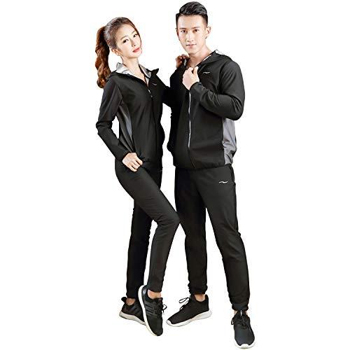 Chamsaler スポーツスーツ メンズ レディース ダイエットスーツ 大量発汗 燃焼サポート ヨガ フード付き 上下セット ウインドブレーカー 洗濯可 大きいサイズ 男女兼用 (XXXL, ブラック&グレー)