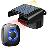 Solar Driveway Alarm,PHYSEN Wireless Driveway Security Alert System,1 Outdoor Weatherproof Rechargable Solar PIR