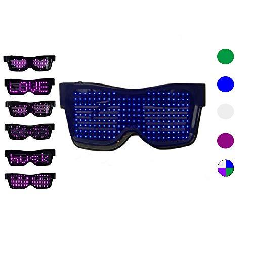 KEBEIXUAN LED Brille für Partybevorzugungen, anpassbare Bluetooth-LED-Blitzbrillen, wiederaufladbare USB-LED-Brillen für Raves, Nachtclubs, Musikfestivals, Partyzubehör (Blau)