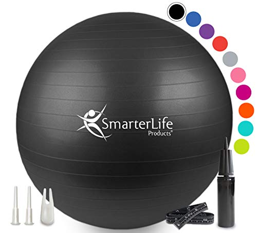 Exercise Ball for Yoga, Balance, Stability - Fitness, Pilates, Birthing, Therapy, Office Ball Chair, Flexible Seating - Anti Burst, Non Slip, PRO Workout Guide by SmarterLife (Black, 65cm)
