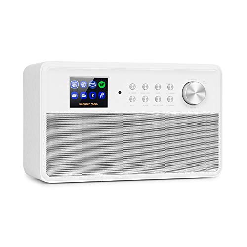 AUNA Connect Link - Web Internet Radio, DAB+/FM, Spotify Connect, Amazon Music, Funzione Bluetooth, App-Control con UNDOK, Display HCC (High Contrast and Color) da 2,4', Ingresso AUX, Bianco