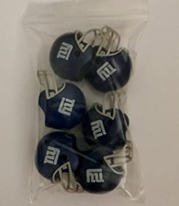 "NFL 6 Pack New York Giants 2017 Helmet Mini Football 2"" Inch Helmets. NY Complete Team Logo Cake Toppers Party Favors. Collectible Gumball Vending Toy New in Bag. Pencil Cap."