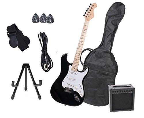 Stratocaster elektrische gitaar, complete set met versterker 15 W en accessoires (zwart)