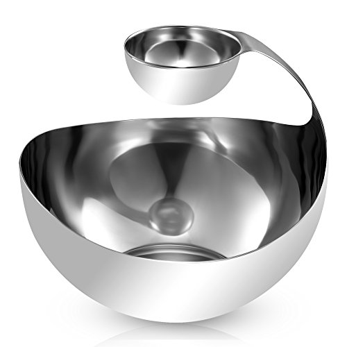 Pro Chef Kitchen Tools Stainless Steel Chips and Dip Bowl - Entertain with Style with Tiered Divided Serving Dish Holder for Dips, Appetizers, Condiments, Salsa, Salad, Dipping Sauces in Serveware