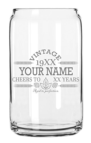 Customized Beer Can Glass-Personalized-Birthday Beer Glass-Engraved-Vintage-Cheers-Aged To Perfection-Birthday Gift-Etched Beer Glass-Barware (1)
