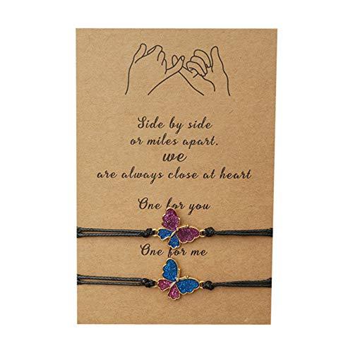 LPOQW 2 pulseras hechas a mano con mariposa, pulsera de muñeca y cadena para hombres y mujeres, accesorios regalos