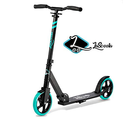 Lascoota Scooters for Kids 8 Years and up  QuickRelease Folding System  Dual Suspension System  Scooter Shoulder Strap 79quot Big Wheels Great Scooters for Adults and Teens Aqua Kids/Adults