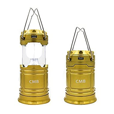 CMB 2-in-1 Rechargeable Camping Lantern Solar Flashlight Emergency Lantern with USB Power Bank (Gold)