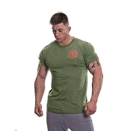 Gold's Gym - Camiseta básica para Hombre, diseño de Pecho Izquierdo, Color Naranja