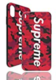 SUP Camo Hülle [ Kompatibel mit Apple iPhone X/XS, in Rot ] Supreme Hülle im Camouflage Design - Army Tarnmuster - Fühlbares 3D-Motiv