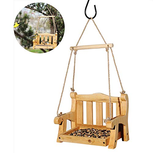 DOLA Vogelfutterhaus aus Holz im Freien, wildes Vogelfutterhaus für Garten-Pavillon-Hofdekoration