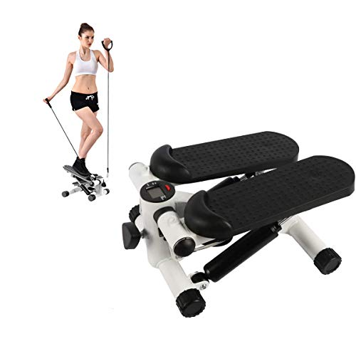 BIG.TREE Up-Down Stepper 2-in-1 Mini Fitness Stepper Wear-Free Hydraulic Cylinder with Adjustable Resistance Bands and LED Monitor