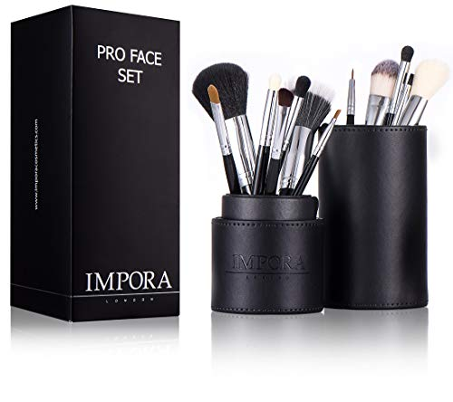 Profi Make-Up Pinsel-Set mit Etui - Eyeliner, Stift, Lidschatten, Grundierung, Tupf-, Misch-,...