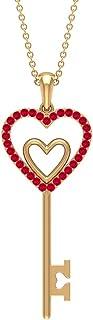 قلادة متدلية على شكل قلب مزدوج 1/4 قيراط مع ياقوت مصنوع (جودة AAAA)