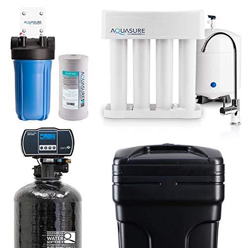 Aquasure Whole House Water Filtration Bundle w/Water Softener, 75 GPD RO System & Dual Purpose Sediment/GAC Pre-Filter (48,000 Grains)