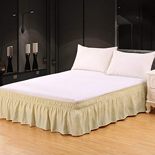 Miruxia Wrap Around Ruffled Bed Skirt with Adjustable Elastic Belt,Easy Fit Wrinkle and Fade Resistant,15 Inch Drop Solid Color Bed Skirt.(Camel,Queen)