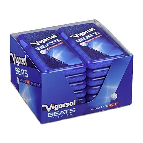 Vigorsol Beats Strong Mint, Gusto Menta, Gomme da Masticare senza Zucchero con Xilitolo, Formato Scorta da 12 Astucci