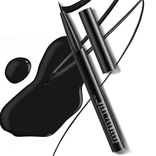 Dlux Professional Waterproof Liquid Eyeliner - Vivid Black Ink Pen Eyeliner, Fine Felt Tip, Smudge Proof, Long Lasting, Highly Pigmented, Cruelty Free, Matte Finish, Fast Drying, Easy Application