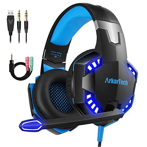 Gaming Headset für PS4 PC Xbox One mit Mikrofon, Over Ear Stereo Sound Gamer Kopfhörer PS4 with Noise Cancelling Mic LED Licht und Game & Chat Lautstärkeregler 3.5mm für Laptop Switch Computer Tablet
