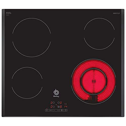 Balay 3EB721LR - Placa Vitrocerámica, 4 Zonas de Cocción, 60 cm, Color Negro