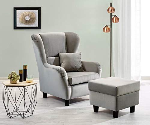 lifestyle4living Ohrensessel mit Hocker in grauem Samt bezogen | Der perfekte Sessel für entspannte, Lange Fernseh- und Leseabende. Abschalten und genießen!