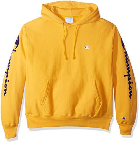 Champion Men's Reverse Weave Po Hood-Oversized Flock Script Sweatshirt
