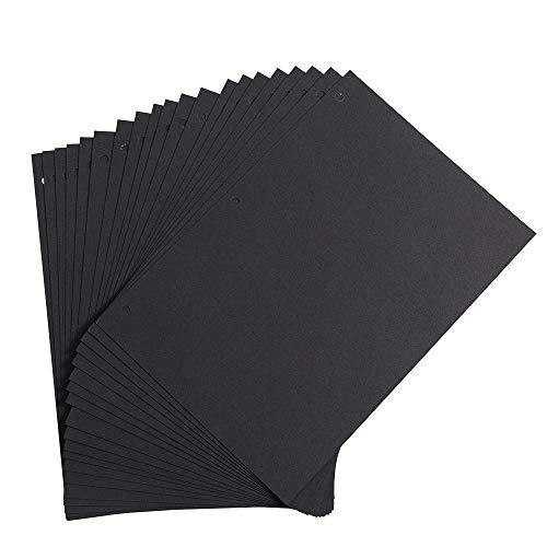 Altopbum Schwarz Papier 26 x 17,5 cm, Fotoalbum Innenseiten Nachfüllseiten für Scrapbook Album 27,3 x 21 cm, 20 Blättern (Schwarz Seiten)